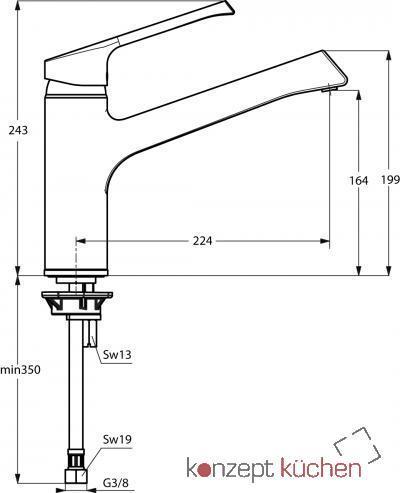 IDEAL STANDARD Küchenarmatur Retta HD Chrom Schwenkauslauf, B 8981 ...