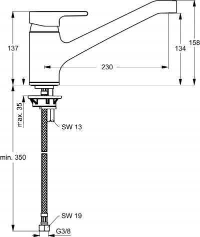 IDEAL STANDARD Küchenarmatur Active HD Chrom B 8079 AA Online Shop ...